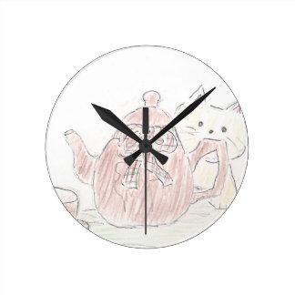 Tea Kettle Kitten Clock