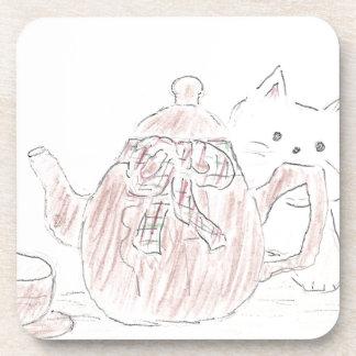 Tea Kettle Kitten Drink Coaster