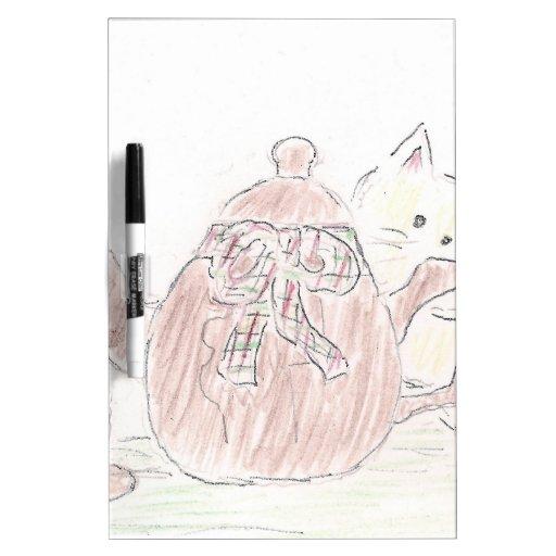 Tea Kettle Kitten Dry-Erase Whiteboard