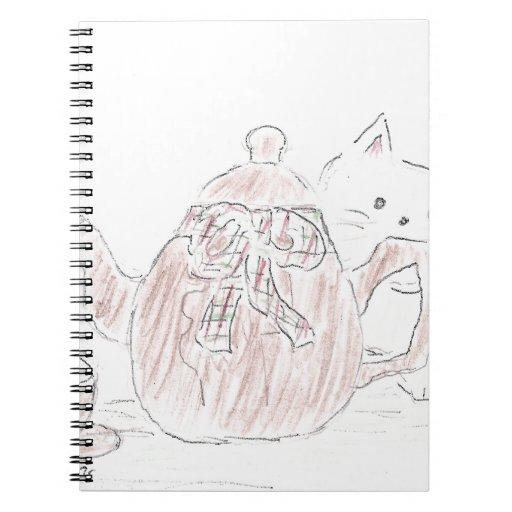 Tea Kettle Kitten Spiral Notebook