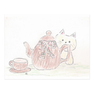 Tea Kettle Kitten Postcard