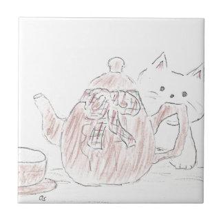 Tea Kettle Kitten Small Square Tile