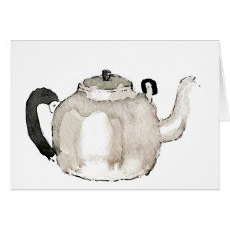 Tea Kettle Water Colour Greeting Card