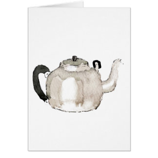 Tea Kettle Water Colour Greeting Card