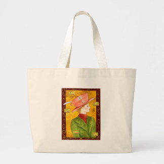 Tea Lady in Green Large Tote Bag