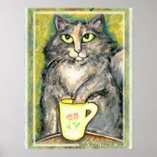 Tea Loving Maine Coon Cat Poster