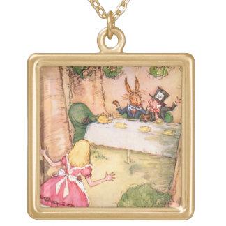 Tea Party 4 Square Pendant Necklace