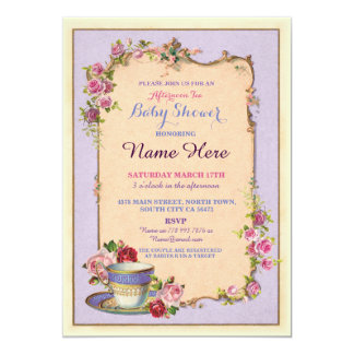 Tea Party Baby Shower Garden Teacup Invitation
