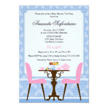 Tea Party Baby Shower 13 Cm X 18 Cm Invitation Card