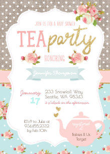Tea party baby shower invitations zazzle uk tea party baby shower invitation filmwisefo