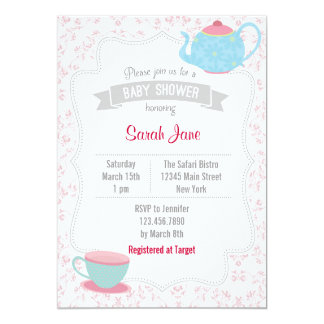 Tea Party Baby Shower Invites Floral Pink Invitations