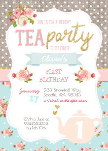 tea 1st birthday invitations zazzle uk