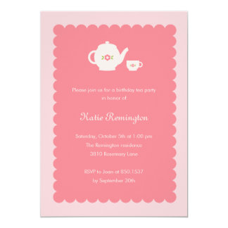 Tea Party Birthday Invitation Custom Invitation