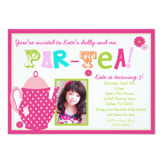 Tea Party Birthday Invitation for Girls with Photo
