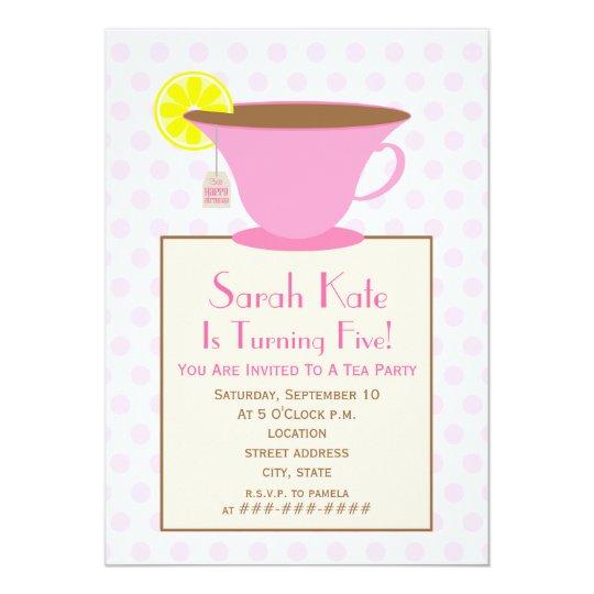Tea Party Birthday Invitation - Pink