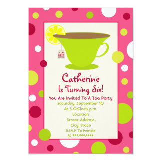 Tea Party Birthday Invitation - Pink And Green