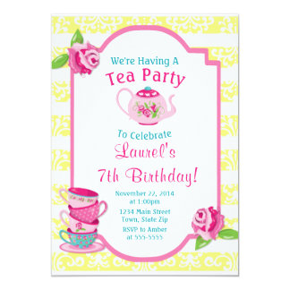 Tea Party Birthday Invitation Teapot Pink Girl