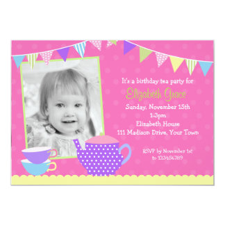 Tea Party Birthday Invitations with photo