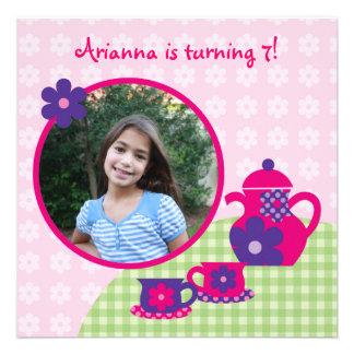 Tea Party Birthday Photo Invitation