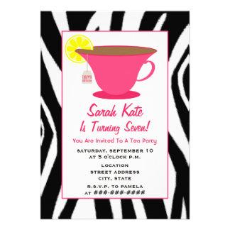 Tea Party Birthday - Zebra Pink Invites