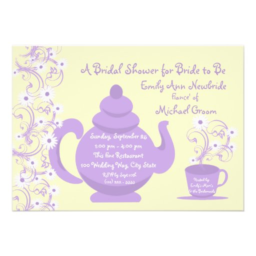 Tea Party Bridal Shower with recipe card Custom Invitation