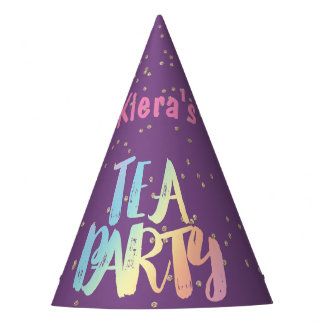 Tea Party Confetti Personalized Party Hat