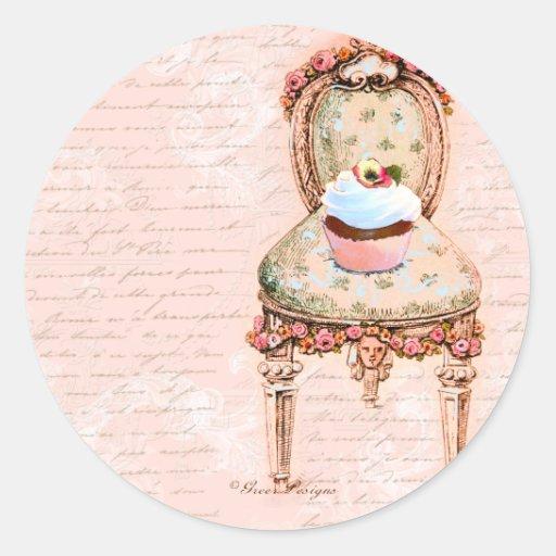 Tea Party Cupcake French Victorian Design Round Sticker
