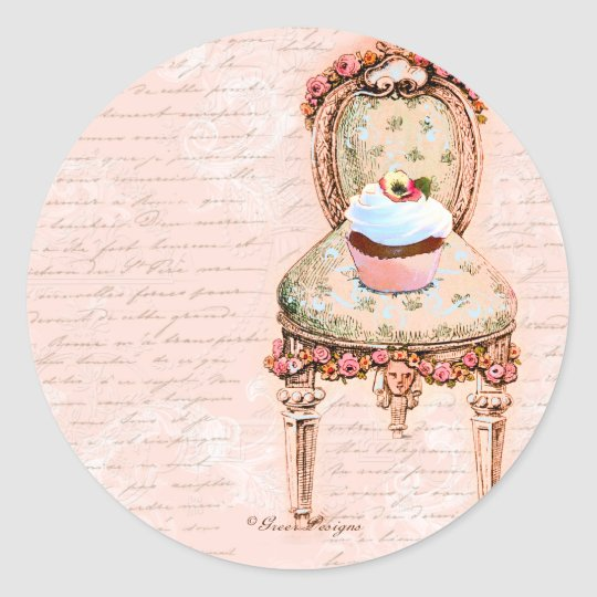 Tea Party Cupcake French Victorian Design Round Sticker