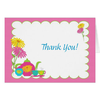 Tea Party, Daisies,Thank You Greeting Card