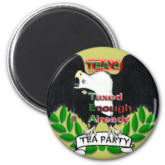 TEA Party Eagle Who I tired of taxes 6 Cm Round Magnet