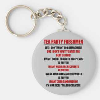 tea party freshmen basic round button key ring