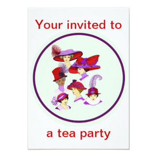 Tea Party invitation, ladies wearing red hats Card