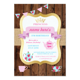 Tea Party Invite Princess Crown Pot Alice Birthday
