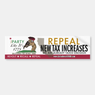 Tea Party Like 1773-Repeal New Taxes BumperSticker Car Bumper Sticker