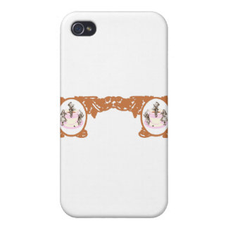 Tea Party Original Vintage Frame in Coffee Brown Cases For iPhone 4