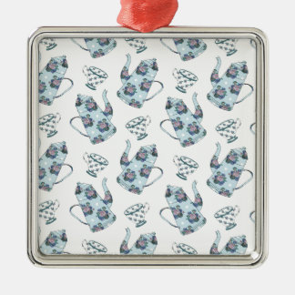 Tea Party Pattern. Silver-Colored Square Decoration