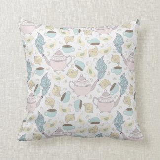 Tea Party Pattern Throw Pillow
