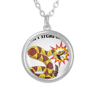 Tea Party Rattlesnake Round Pendant Necklace
