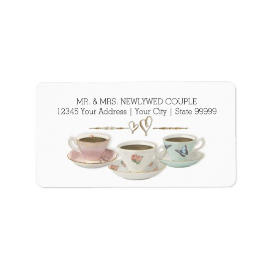 Tea Party Return Address Bridal Shower Invitation Address Label