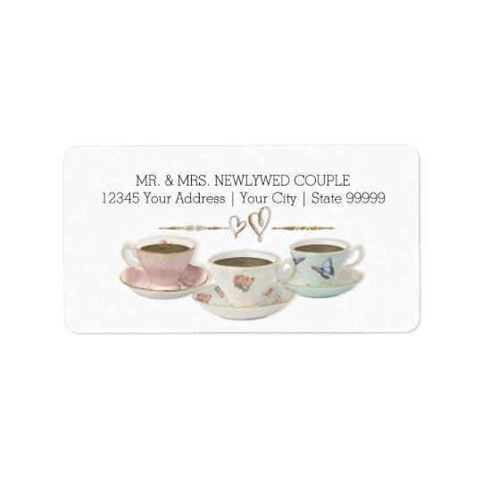 Tea Party Return Address Bridal Shower Invitation Label