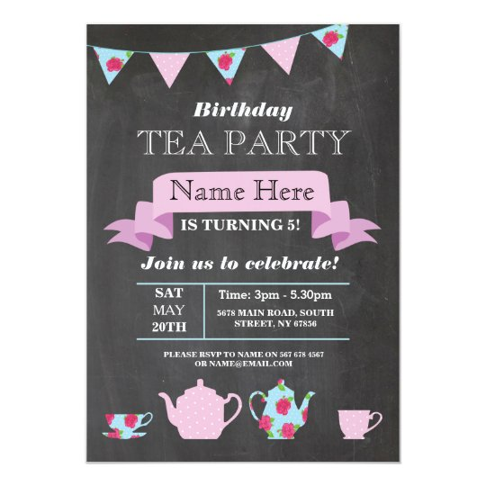 Tea Party Teapot Alice In Wonderland Chalk Invite