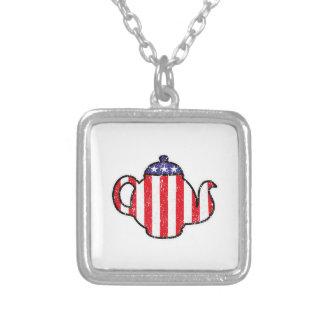 Tea Party Teapot Distressed Logo Necklaces