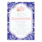 Tea party teapot, lace pink, navy bridal shower card