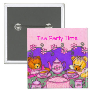 Tea Party Time Buttons ~ Personalize Message