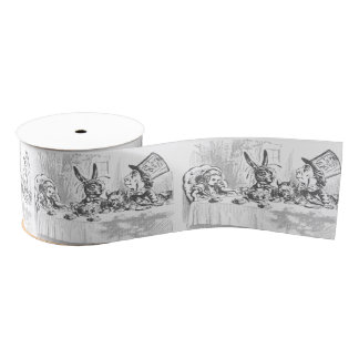Tea Party Vintage Alice in Wonderland Ribbon Grosgrain Ribbon