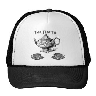 TEA PARTY VINTAGE TEAPOT AND CUPS PRINT TRUCKER HAT