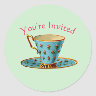 Tea Party You're Invited Round Sticker