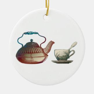 Tea Pot and Tea Cup Art Round Ceramic Decoration