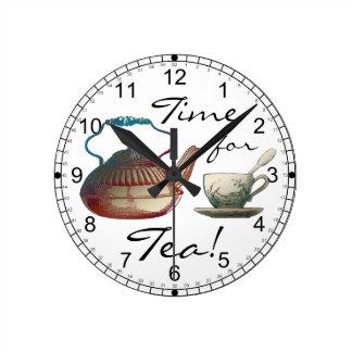 Tea Pot and Tea Cup Art Round Clock