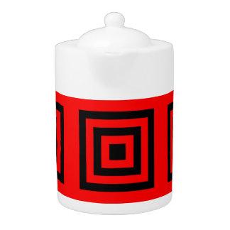 Tea Pot: Black Squares (reducing) Red Background.